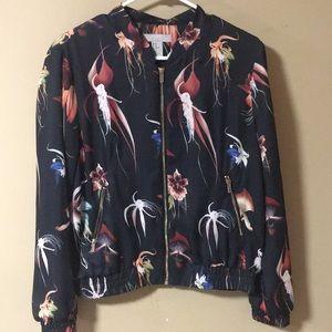 H &M floral satin bomber jacket